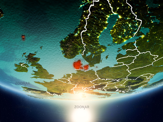 Denmark with sun on planet Earth