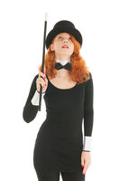 Woman dressed for party pointing up