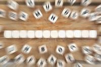 Würfel Textfreiraum Copyspace für zwölf Buchstabe oder Text Business Konzept