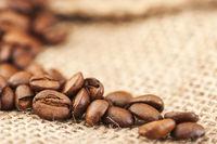 Kaffeebohnen in Fokus unter weichem Licht