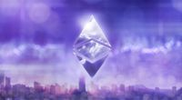 Ethereum cryptocurrency of icon with a reflection of the sky on a blurred ultraviolet background of a modern city