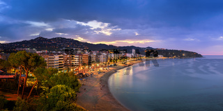 Panorama of Lloret de Mar in the Morning, Costa Brava, Catalonia, Spain