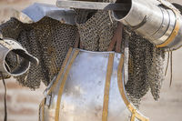 medieval iron armor with helmet and chain mail