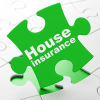 Insurance concept: House Insurance on puzzle background