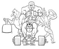 athletes at the gym cartoon color book
