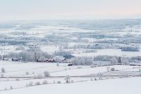 Wintry rural landscapes view with snow