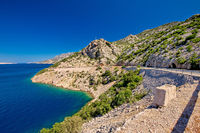 Scenic coastal road under Velebit mountain