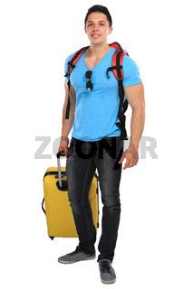 Urlaub junger Mann mit Koffer Reise reisen verreisen jung lachen Freisteller