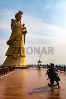 Statue of the sea goddess Matsu in Qingdao, Shandong, China
