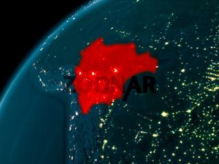 Bolivia at night on Earth
