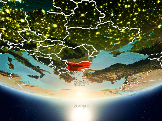 Bulgaria with sun on planet Earth