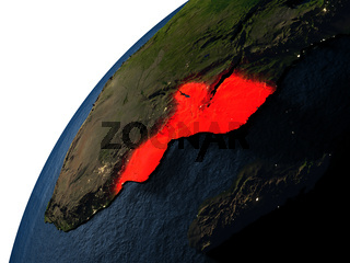Mozambique in red on Earth at night