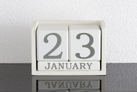 White block calendar present date 23 and month January