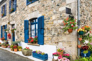 typical Breton house in Brittany in summer