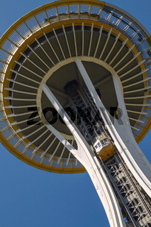 Detail of Space Needle Tower in Seattle, Washington, United States