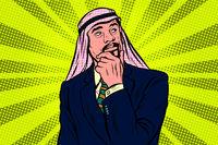 Elderly Arab businessman, thinker pose