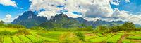 Beautiful rural landscape.Vang Vieng, Laos. Panorama