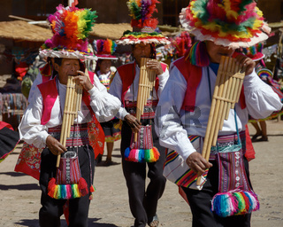 Musicians and Dancers During a Festival on Taquile Island at Lake Titicaca in Puno Peru
