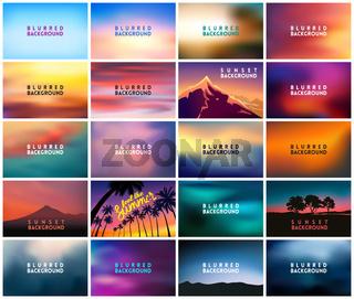 BIG set of 20 horizontal wide blurred nature backgrounds
