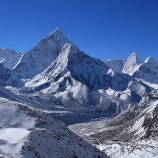 Mount Ama Dablam on a morning after new snowfall