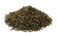 Pile of dry green tea leaves