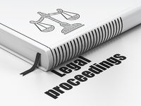 Law concept: book Scales, Legal Proceedings on white background