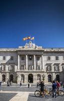 town hall landmark building at sant jaume square barcelona spain