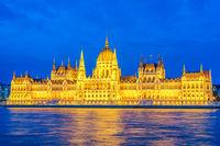 Budapest night city skyline at Hungalian Parliament and Danube River, Budapest, Hungary