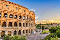 Rome sunset city skyline at Rome Colosseum (Roma Coliseum), Rome, Italy