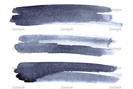 Set of grey ink brush strokes