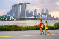 Couple running in Singapore