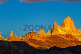 Fiery sunset illuminates the cliffs Fitz Roy