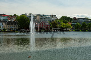Cityscape of the old buildings in Stavanger, Norway