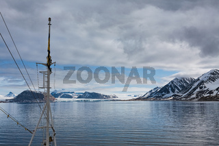 Mountains and glacier in Svalbard islands, Norway