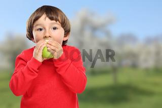 Apfel essen Kind Obst grün Früchte gesunde Ernährung