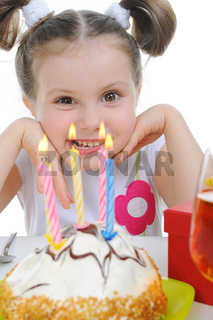 Beautiful little girl celebrates birthday
