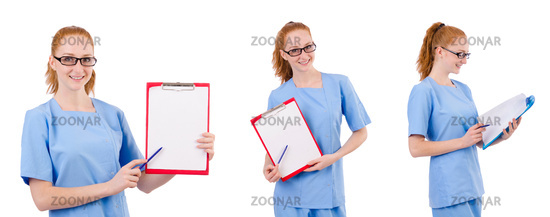 Pretty doctor  in blue uniform with documents  isolated on white