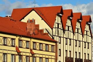 Fachwerk-Architektur. Fischerdorf, Kaliningrad, ehemals Königsberg, Russland