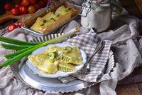 Swabian ravioli gratinated with cheese