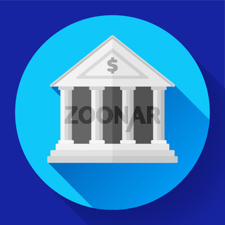 white bank icon with long shadow