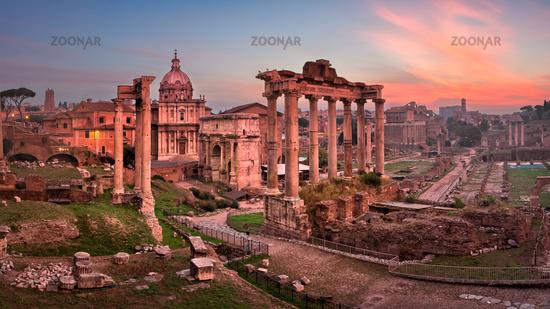 Panorama of Roman Forum (Foro Romano) in the Morning, Rome, Italy
