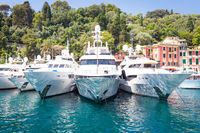 Portofino, Italy - Summer 2016 - Three luxury Yacht