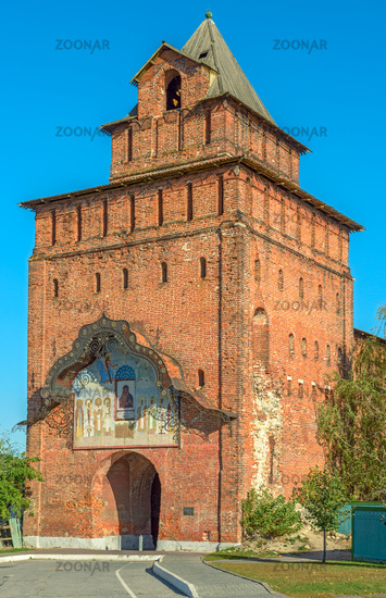 Kremlin tower and gate in russian town Kolomna