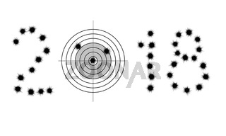Bullet holes and target in shape of 2018
