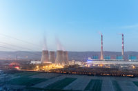 modern thermal power plant at dusk