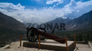 Gun near Baltit fort, view to Karimabad Hunza valley, Pakistan
