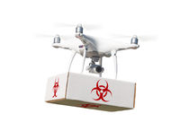 Unmanned Aircraft System (UAV) Quadcopter Drone Carrying Package With Biohazard Symbol Label On White.