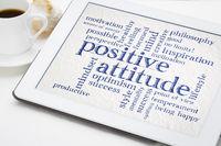 positive attitude word cloud on tablet