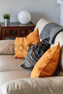 Pillows on the couch in the living room