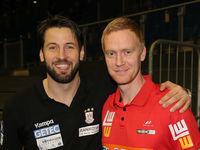 Bennet Wiegert (SC Magdeburg) und Christian Schöne (Frisch auf Göppingen)  beim DKB-Handball Punktspiel SC Magdeburg - Frisch Auf Göppingen am 22.02.2018 in Magdeburg